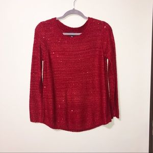 Rafaella red metallic crew neck sweater petite S